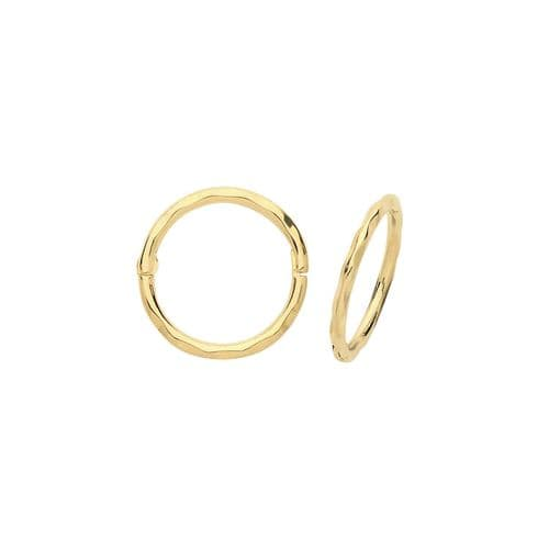Yellow Gold Faceted Sleeper Hinged Hoop Earrings 10mm British made Hallmarked